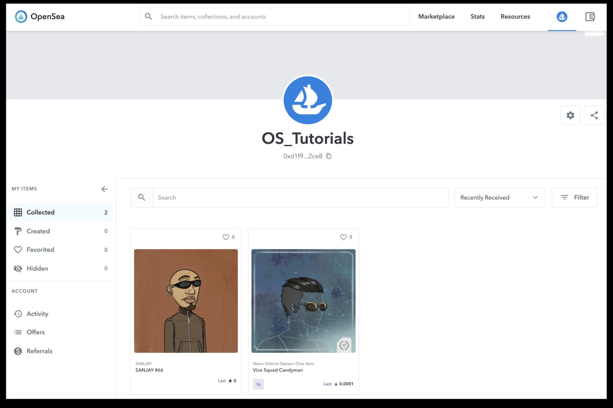 The UI of My items tab on OpenSea website