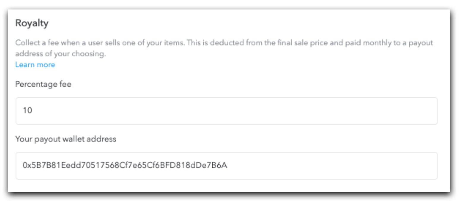 The UI of Fee settings tab on OpenSea website