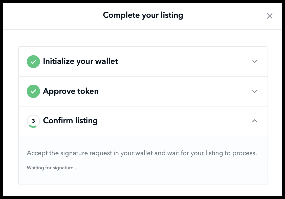 The UI of Complete your listing tab on OpenSea website