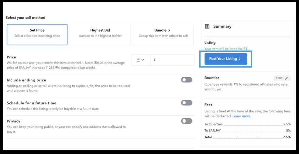 The UI of NFT listing tab on OpenSea website