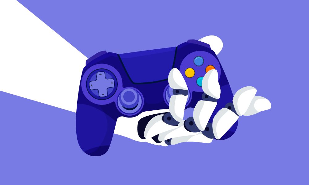 An android arm holding a gamepad