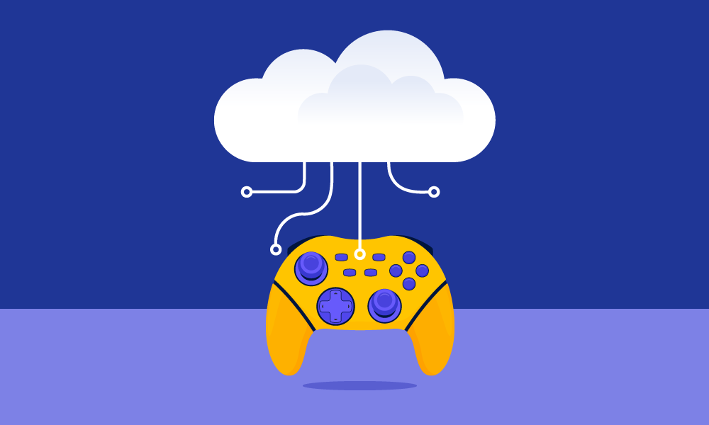 An orange gamepad connected to a cloud