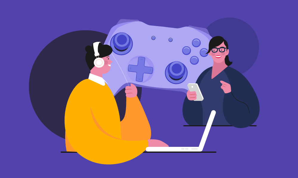 People communicating while playing games on different platforms
