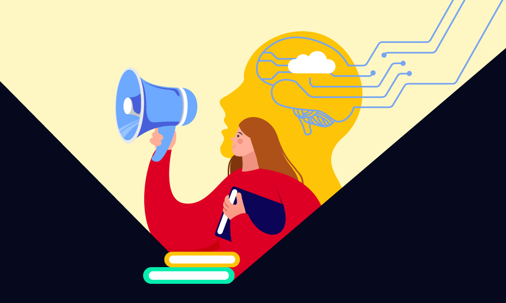 A person with a megaphone explaining the importance of machine learning