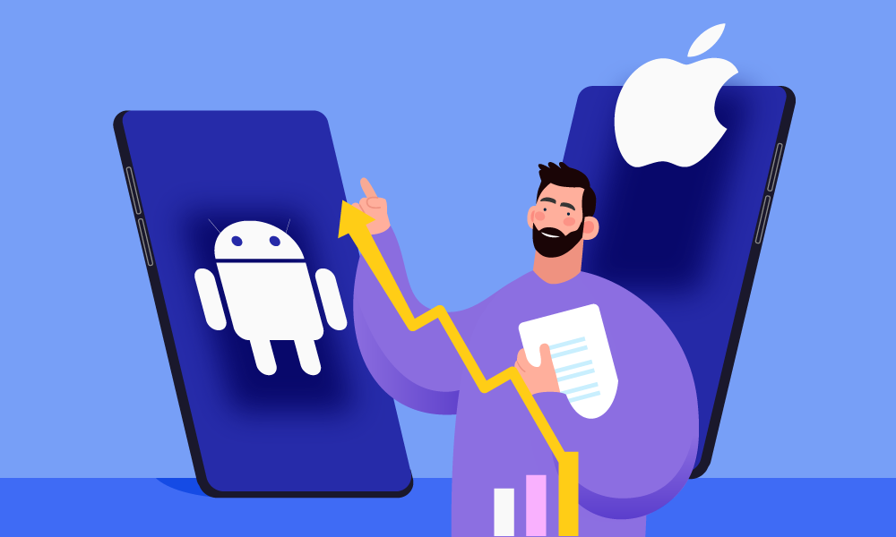 A person analyzing iOS and Android markets report