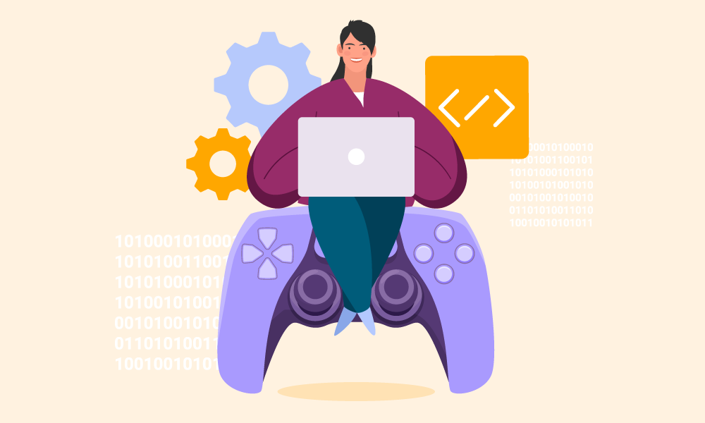 A person writing code sitting on a gamepad