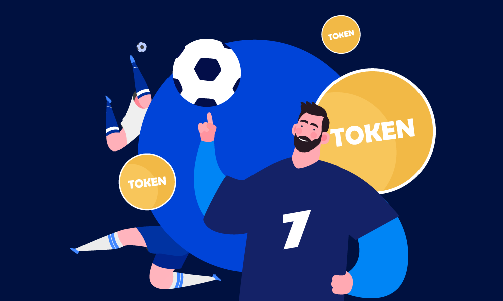 People playing football on tokens background