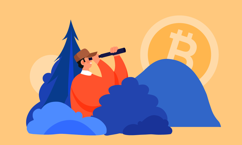 A person with a spotting scope in bushes hunting for Bitcoin