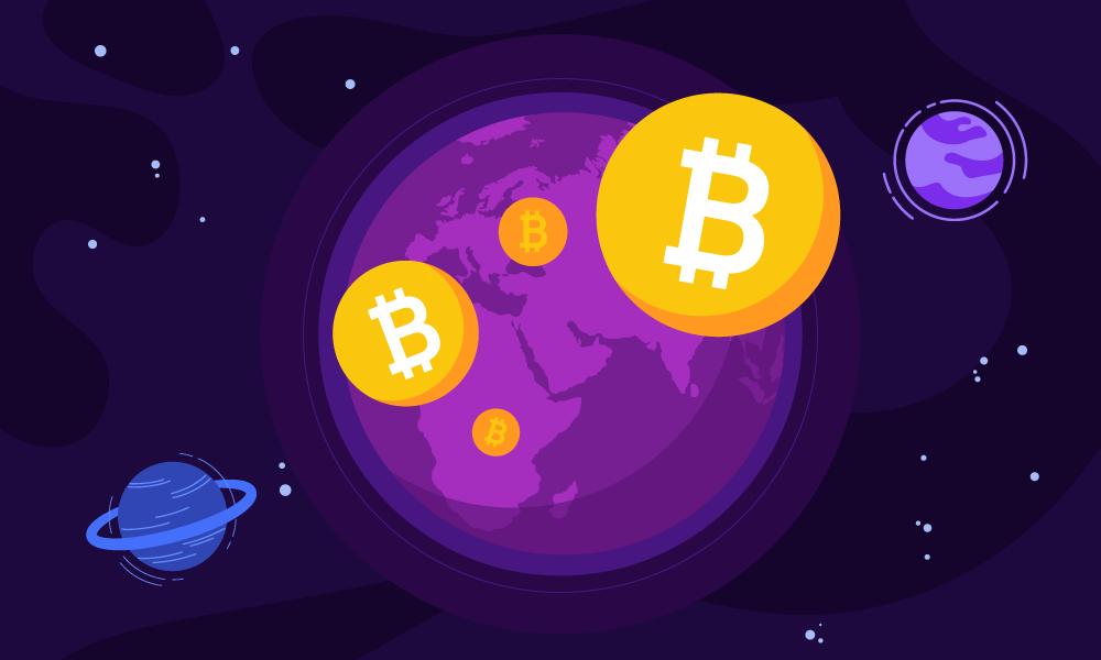 Bitcoin tokens flying in orbit around Earth