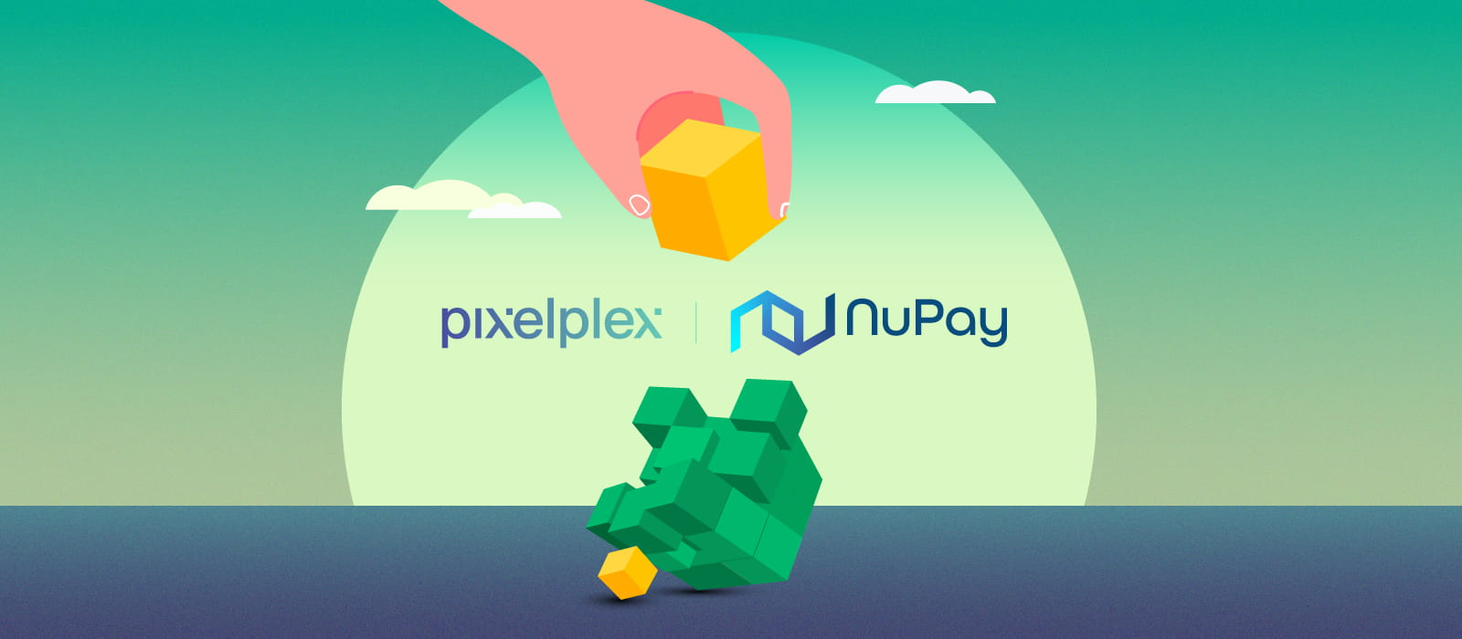 A hand building a cube out of green and yellow blocks next to PixelPlex and NuPay logos