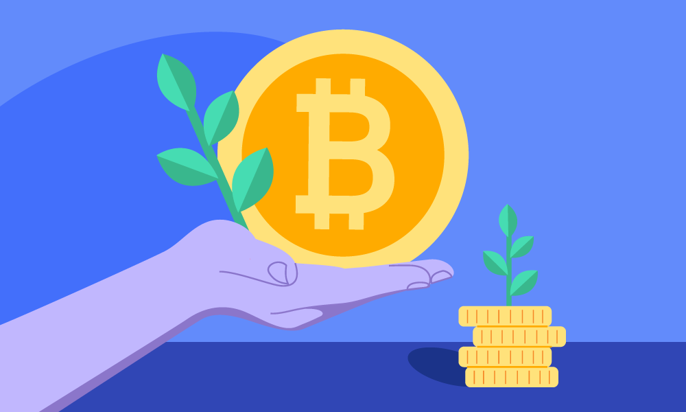 A person holds in hands a growing Bitcoin token