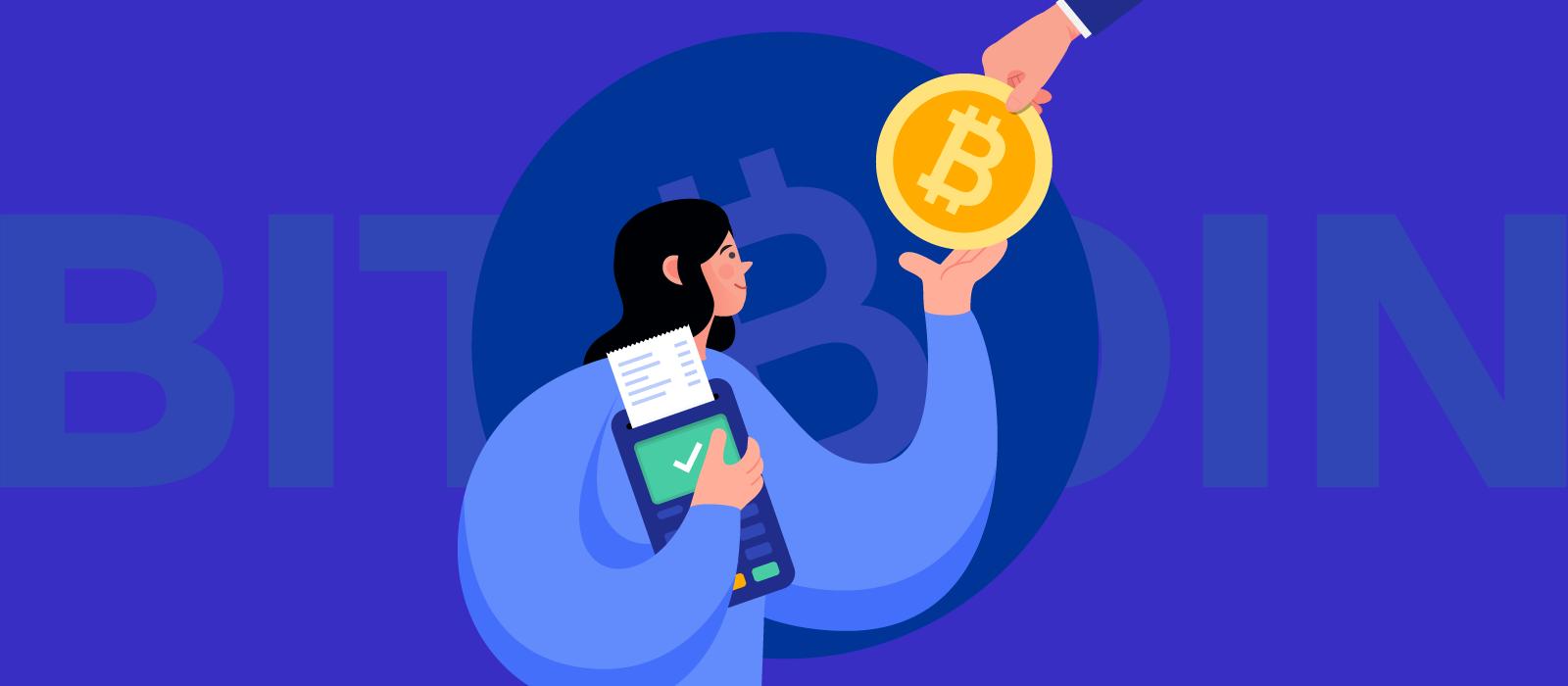 A person with a payment terminal receiving Bitcoin token