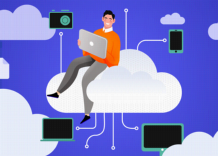 A person using cloud storage sitting on a cloud