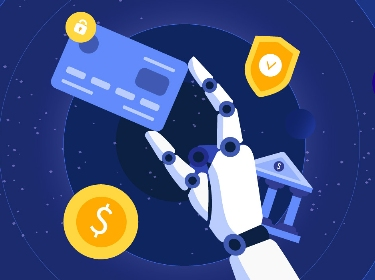 An android's hand holds a credit card next to banking symbols