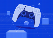 A gamepad surrounded by blue cubes symbolizing blockchain
