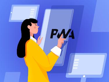 A person examining the PWA logo