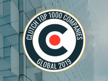 Clutch Top 1000 Companies badge on a glass skyscraper background