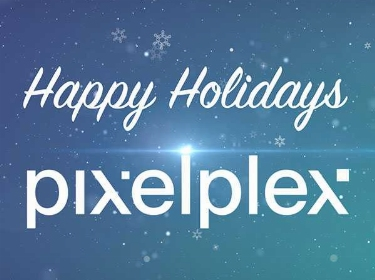 Happy holidays wish and PixelPlex logo on a snowy background