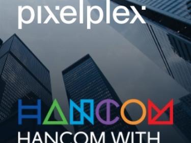PixelPlex and Hancom logos on the glass skyscrapers background