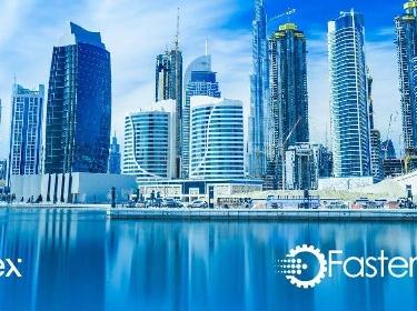 Panoramic view of Dubai city next to PixelPlex and FasterCapital logos
