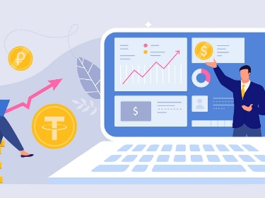Two people analyzing stablecoins statistics