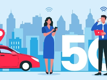 Two people communicating via phone next to a car, 5G icon, and wireless network icons