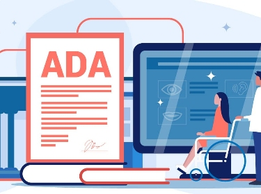 A person assisting the other one in a wheelchair next to ADA lawsuit