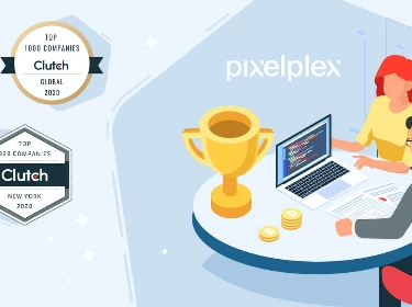 Two people sitting next to a golden trophy, PixelPlex logo, and three Clutch badges