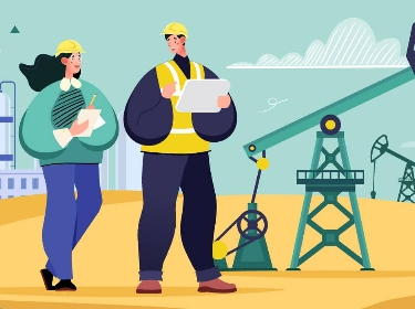 Two oil-industry workers on a plant and oil pumpjack background