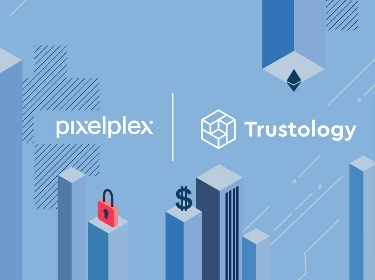 PixelPlex and Trustology logos on skyscrapers and crypto elements background
