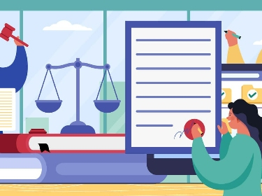 Three people managing legal documents