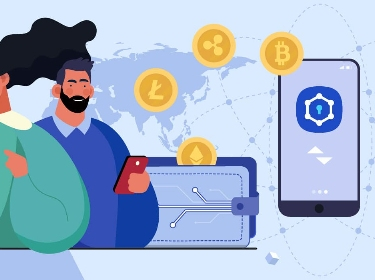 People making crypto transactions using phones