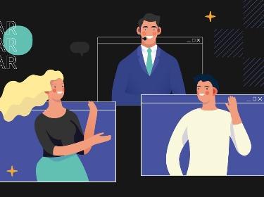 Three people taking part in a webinar