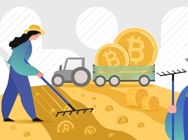 Two people harvesting bitcoin tokens in the field