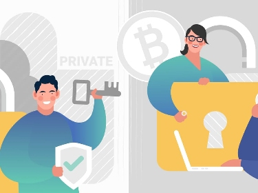 People illustrating the comparison of private and public blockchain paradigms