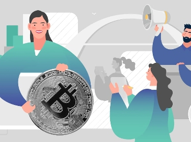 People holding a Bitcoin token and popularizing blockchain