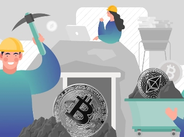 People mining Ethereum and Bitcoin with a pickaxe