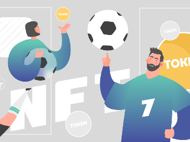Soccer players next to NFT and tokens