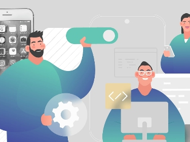People developing mobile elements with the help of pre-made templates