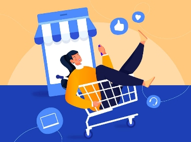 A woman enjoying digital shopping while riding in a grocery cart past a mobile device stylized as a physical store surrounded by likes and other social icons