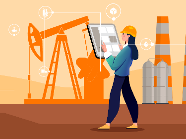 A person managing oil and gas mining using technologies